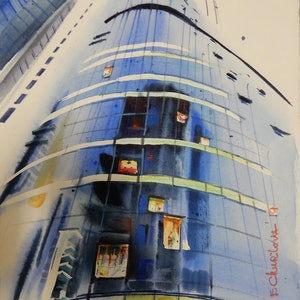 (CreativeWork) Neighbours, Big City by Elena Churilova. watercolour. Shop online at Bluethumb.