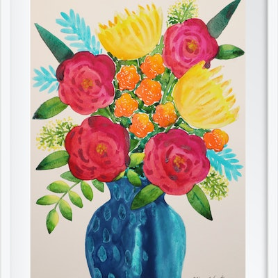 (CreativeWork) Beautiful Blooms by Alice West. watercolour. Shop online at Bluethumb.