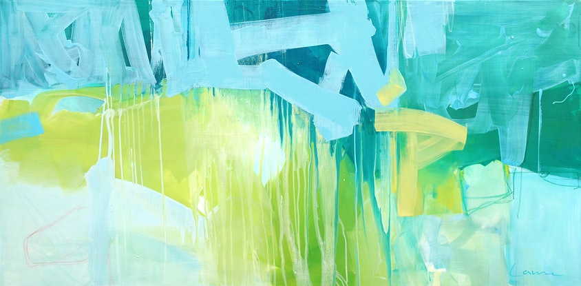 (CreativeWork) Brush - Large,  long, blue, yellow, green, abstract by Stephanie Laine. Acrylic Paint. Shop online at Bluethumb.