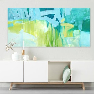 (CreativeWork) Brush - Large,  long, blue, yellow, green, abstract by Stephanie Laine. arcylic-painting. Shop online at Bluethumb.