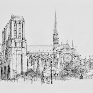 (CreativeWork) Notre Dame Cathedral in Paris - pen and ink sketch by Dai Wynn. drawing. Shop online at Bluethumb.