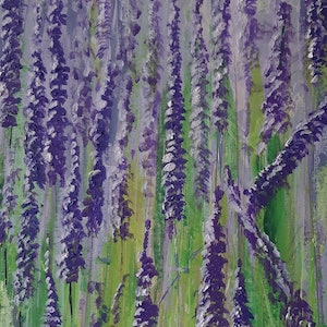 (CreativeWork) Salvia in Autumn bloom  by Mari Anthi. arcylic-painting. Shop online at Bluethumb.
