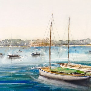 (CreativeWork) Couta Boats, Mornington Pier, Victoria  by Geoff Stanistreet. watercolour. Shop online at Bluethumb.