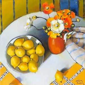 (CreativeWork) Poppies, lemons and blue stripe- ltd ed giclee print, 50 cm image (or 70cm) Ed. 1 of 20 by kirsty mcintyre. print. Shop online at Bluethumb.