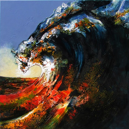 (CreativeWork) Last wave of the day by De Gillett Cox. Acrylic Paint. Shop online at Bluethumb.