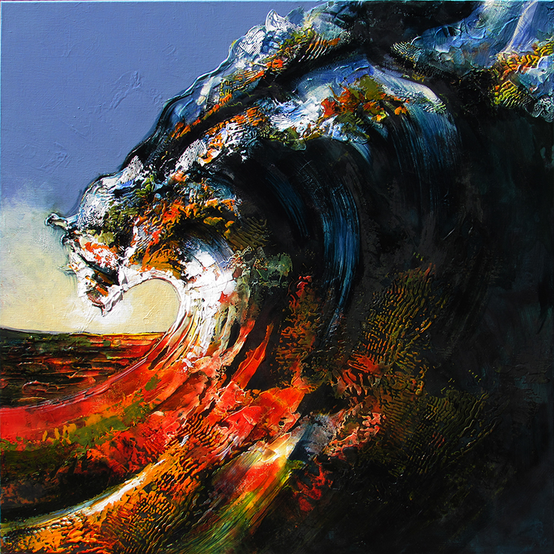(CreativeWork) Last wave of the day by De Gillett Cox. acrylic-painting. Shop online at Bluethumb.