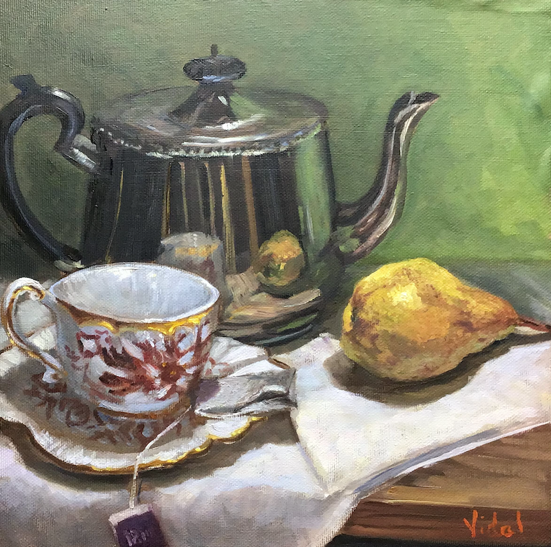 (CreativeWork) Tea time - Still life ready to hang by Christopher Vidal. Oil Paint. Shop online at Bluethumb.