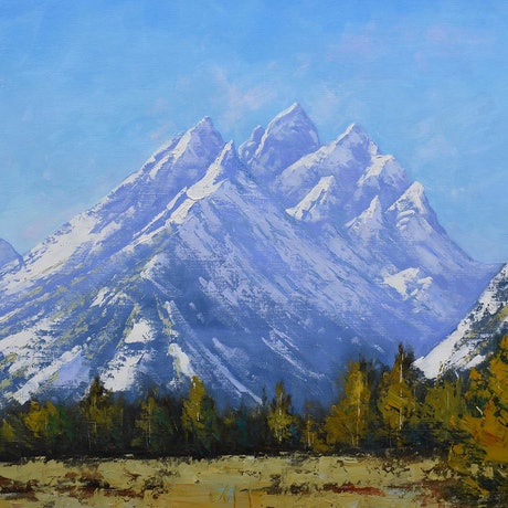 (CreativeWork) Grand Tetons by Graham Gercken. Oil Paint. Shop online at Bluethumb.