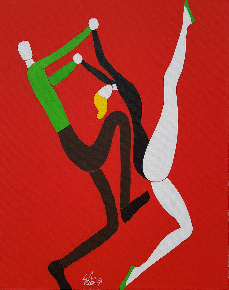 (CreativeWork) Dance Duet #2 by Yiwei Shi. acrylic-painting. Shop online at Bluethumb.