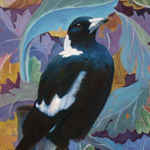 (CreativeWork) Big daddy - Magpie with William Morris Acanthus by fiona smith. oil-painting. Shop online at Bluethumb.