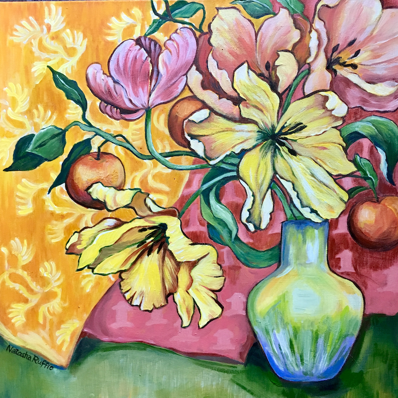 (CreativeWork) Parrot Tulips Still Life by Natasha Ruffio. arcylic-painting. Shop online at Bluethumb.
