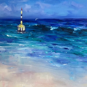 (CreativeWork) Cottesloe Buoy by Jo Meredith. oil-painting. Shop online at Bluethumb.