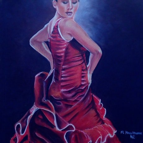 (CreativeWork) Flamenco by Maggie Hawthorne. Drawings. Shop online at Bluethumb.