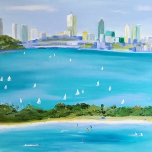 (CreativeWork) City of Perth by Pip Phelps. oil-painting. Shop online at Bluethumb.
