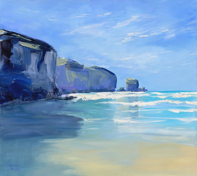 (CreativeWork) Tunnel Beach by Meredith Howse. acrylic-painting. Shop online at Bluethumb.