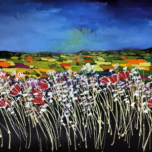(CreativeWork) Dean's Meadow Maidenhead England by Julie Sparks. acrylic-painting. Shop online at Bluethumb.