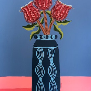 (CreativeWork) Ruby Red Blue Still Life by emma whitelaw. arcylic-painting. Shop online at Bluethumb.