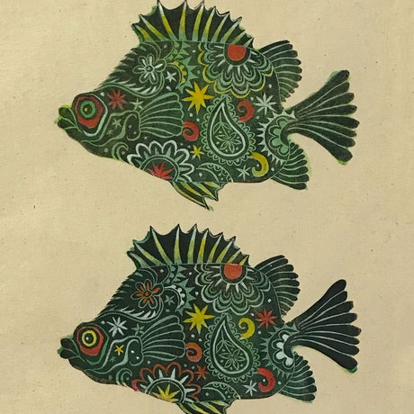 (CreativeWork) Light Patterned Fish Wall Hanging. by Sarah Mitchell. Other Media. Shop online at Bluethumb.