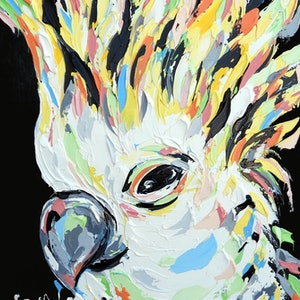 (CreativeWork) Sherbet Cockatoo by Lisa Fahey. arcylic-painting. Shop online at Bluethumb.