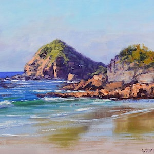 (CreativeWork) Rocky shore Port Macquarie by Graham Gercken. oil-painting. Shop online at Bluethumb.