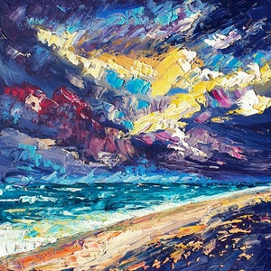 (CreativeWork) Mad For The Sea - FRAMED - Stormy Beach Abstract Seascape by Angela Hawkey. arcylic-painting. Shop online at Bluethumb.