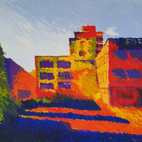 (CreativeWork) Colourful Impressionist Cityscape by Alison Sherlock. Acrylic Paint. Shop online at Bluethumb.