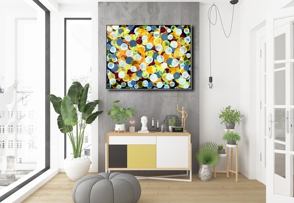 (CreativeWork) Aqua Vitae - Joyful Chardonnay,  Large Abstract Painting about wine framed by Jacquelyn Stephens. Acrylic Paint. Shop online at Bluethumb.