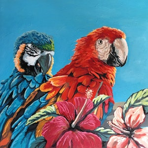 (CreativeWork) Twos Company by sara bell. arcylic-painting. Shop online at Bluethumb.