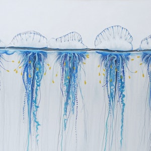 (CreativeWork) Armada - Bluebottles by Naomi Veitch. arcylic-painting. Shop online at Bluethumb.