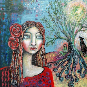 (CreativeWork) Within the Dreaming Tree by Cheryle Bannon. Mixed Media. Shop online at Bluethumb.