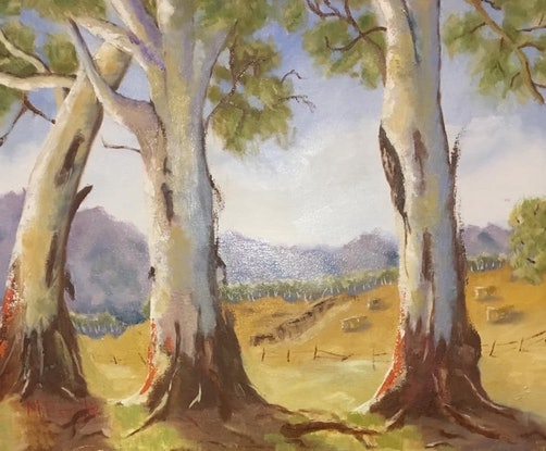 (CreativeWork) Trio of Gums, Victoria by Margie Langtip. Oil Paint. Shop online at Bluethumb.
