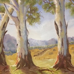 (CreativeWork) Trio of Gums, Victoria by Margie Langtip. oil-painting. Shop online at Bluethumb.