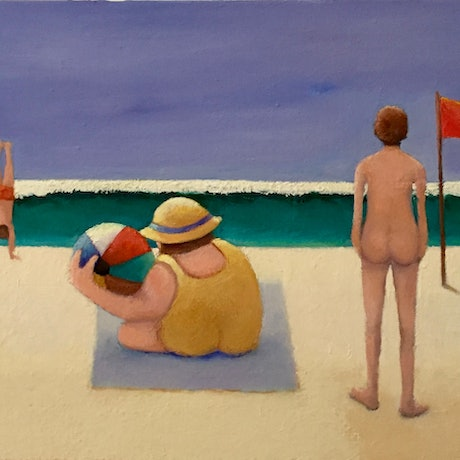 (CreativeWork) Beach Belle by Ross Bell. Oil Paint. Shop online at Bluethumb.