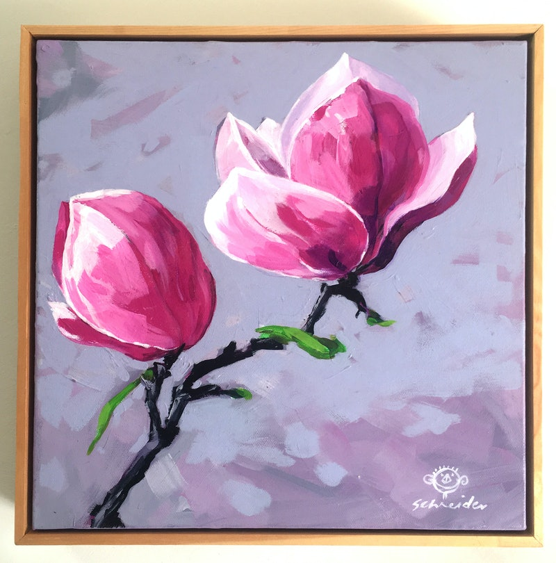 Magnolia Bloom 2 By Derek Schneider Paintings For Sale Bluethumb