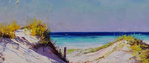 (CreativeWork) Sunbathed Dunes by Graham Gercken. oil-painting. Shop online at Bluethumb.