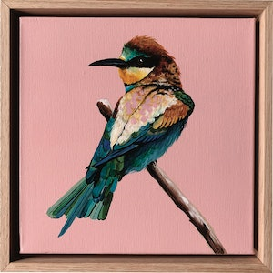 (CreativeWork) Bee Eater Mini by HEYLIE MORRIS. arcylic-painting. Shop online at Bluethumb.
