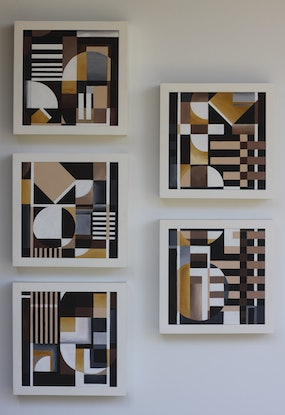 (CreativeWork) Cubika series 1 ( 1 of 5 artworks ) by Chermaine Thompson. Acrylic Paint. Shop online at Bluethumb.