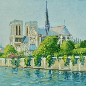 (CreativeWork) Notre Dame Après Midi (Notre Dame Cathedral in the Afternoon) by Dai Wynn. oil-painting. Shop online at Bluethumb.