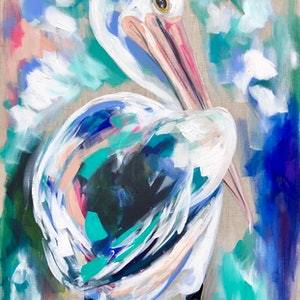 (CreativeWork) Azure pelican  by Amanda Brooks. arcylic-painting. Shop online at Bluethumb.