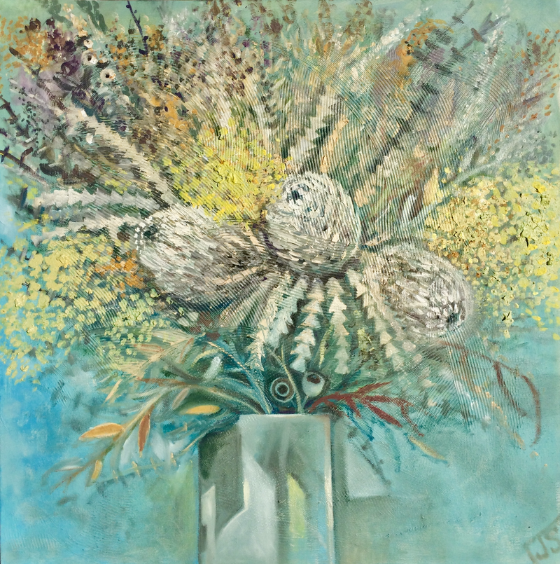 (CreativeWork) Still life with golden wattle by Julia Sorokina. oil-painting. Shop online at Bluethumb.