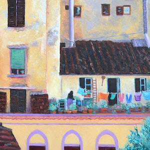 (CreativeWork) FLORENCE WINDOWS - framed by Jan Matson. oil-painting. Shop online at Bluethumb.
