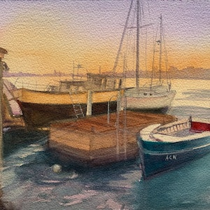 (CreativeWork) Abbotsford wharf by Shelly Du. watercolour. Shop online at Bluethumb.
