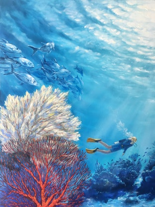 (CreativeWork) Kingdom Of Neptune. Underwater Paradise by Irina Redine. Oil Paint. Shop online at Bluethumb.