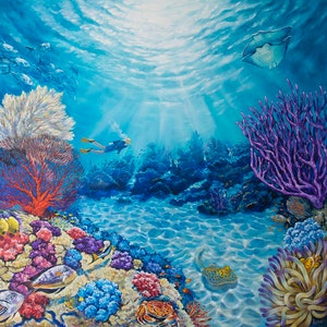 (CreativeWork) Kingdom Of Neptune. Underwater Paradise by Irina Redine. oil-painting. Shop online at Bluethumb.