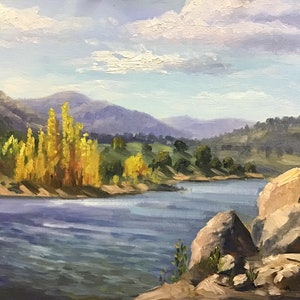(CreativeWork) An afternoon at Lake Jindabyne - Plein air painting by Christopher Vidal. oil-painting. Shop online at Bluethumb.
