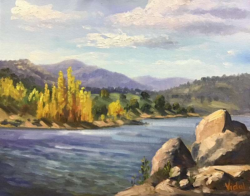 (CreativeWork) An afternoon at Lake Jindabyne - Plein air painting by Christopher Vidal. Oil Paint. Shop online at Bluethumb.