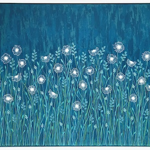 (CreativeWork) Dandelions On Blue - Framed by Lisa Frances Judd. arcylic-painting. Shop online at Bluethumb.