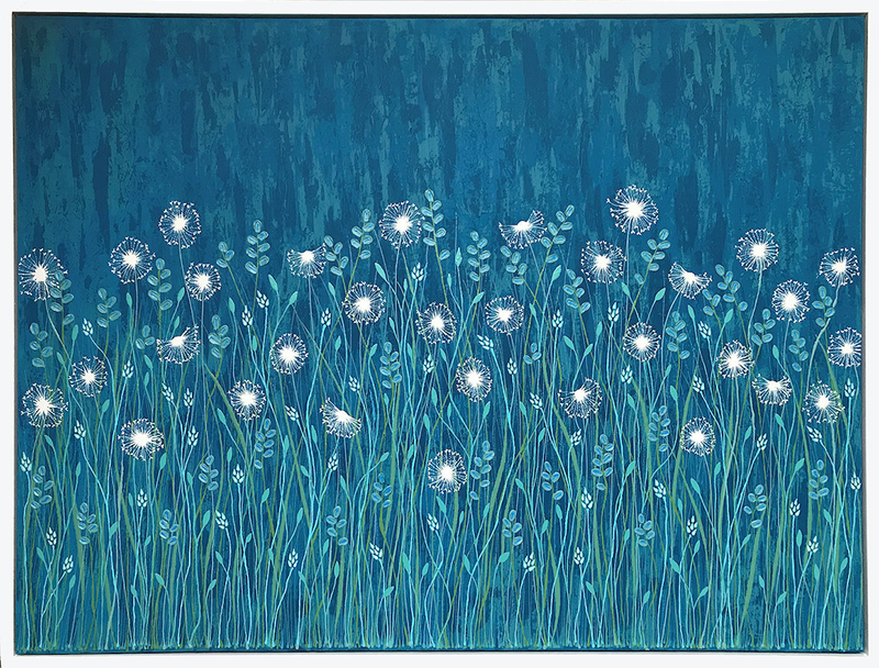 (CreativeWork) Dandelions On Blue - Framed by Lisa Frances Judd. Acrylic Paint. Shop online at Bluethumb.