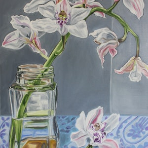 (CreativeWork) Orchid & Coffee by Alicia Cornwell. oil-painting. Shop online at Bluethumb.
