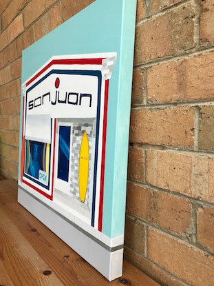 (CreativeWork) San Juan Surf Shop by Anna Bektash. Acrylic Paint. Shop online at Bluethumb.